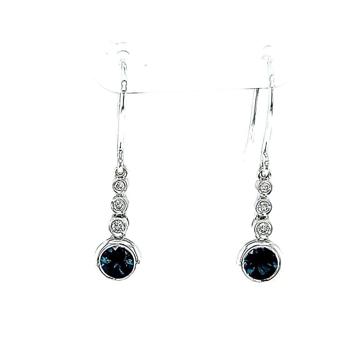 14KW  Blue Spinel and Diamond Dangle Earrings