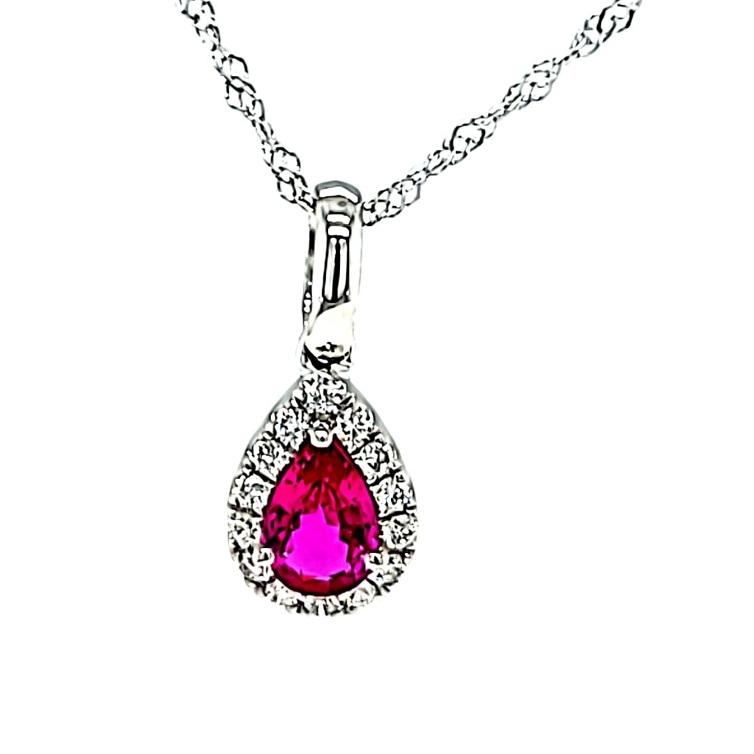 14KW Pear Halo Ruby Pendant