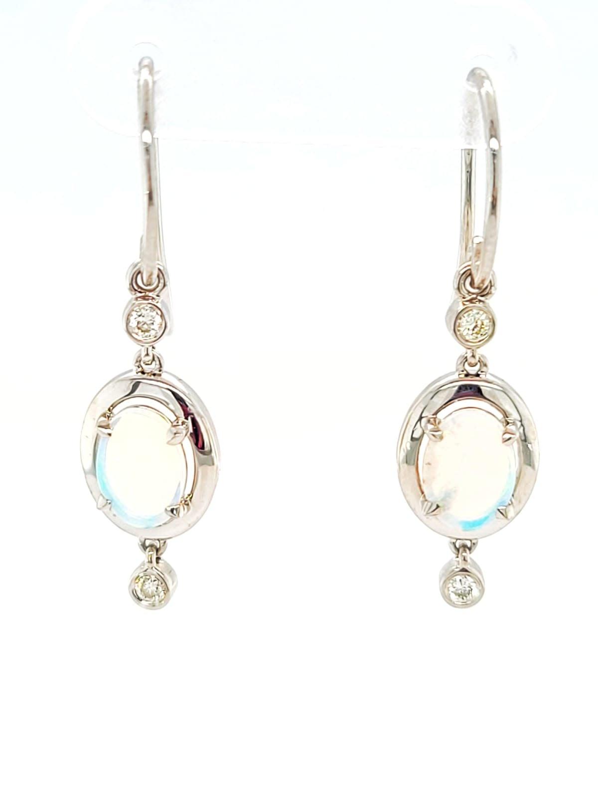 14KW Oval Opal and Diamond Dangle Earrings