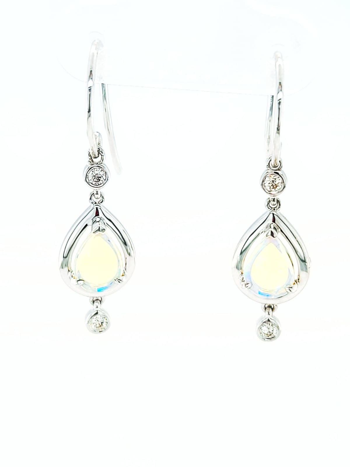 14KW Pear Opal and Diamond Dangle Earrings