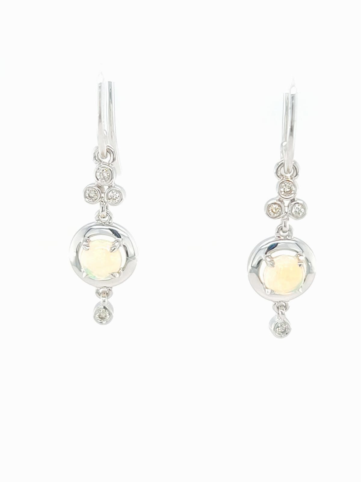 14KW Round Opal and Diamond Dangle Earrings