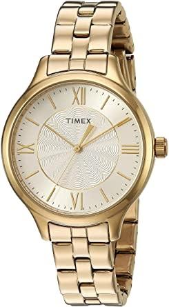 Mens Gold Tone Steel Bracelet Timex Watch