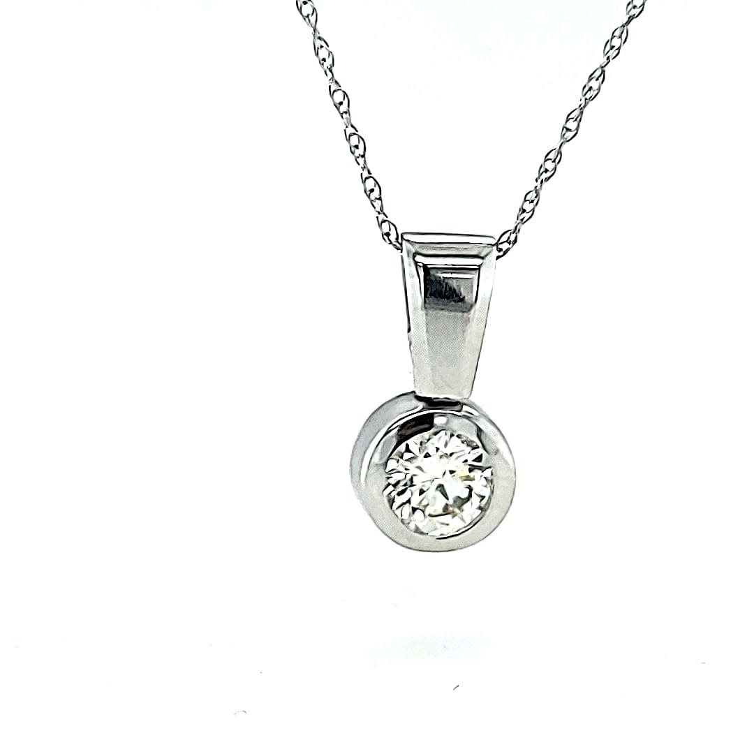 14KW approx .65CT I SI2 Solitaire Bezel Pendant