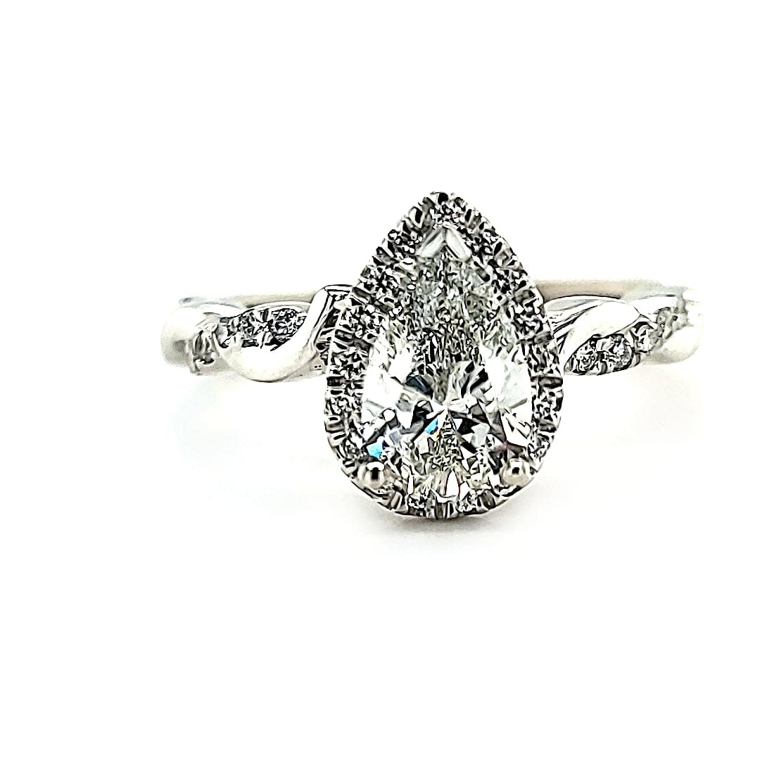 14KW Pear Engagement Ring 1.01 G VS2 LG447076259 (LAB GROWN)