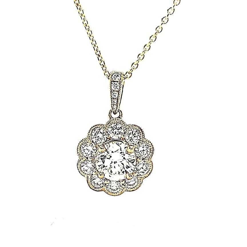 18KY Diamond Flower Pendant with 14K Chain (.68CT I VS1) GIA5201822051
