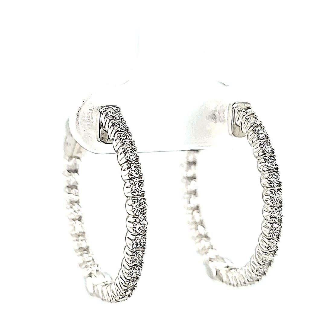 14KW 0.91TW Lab Grown Hoop Earrings