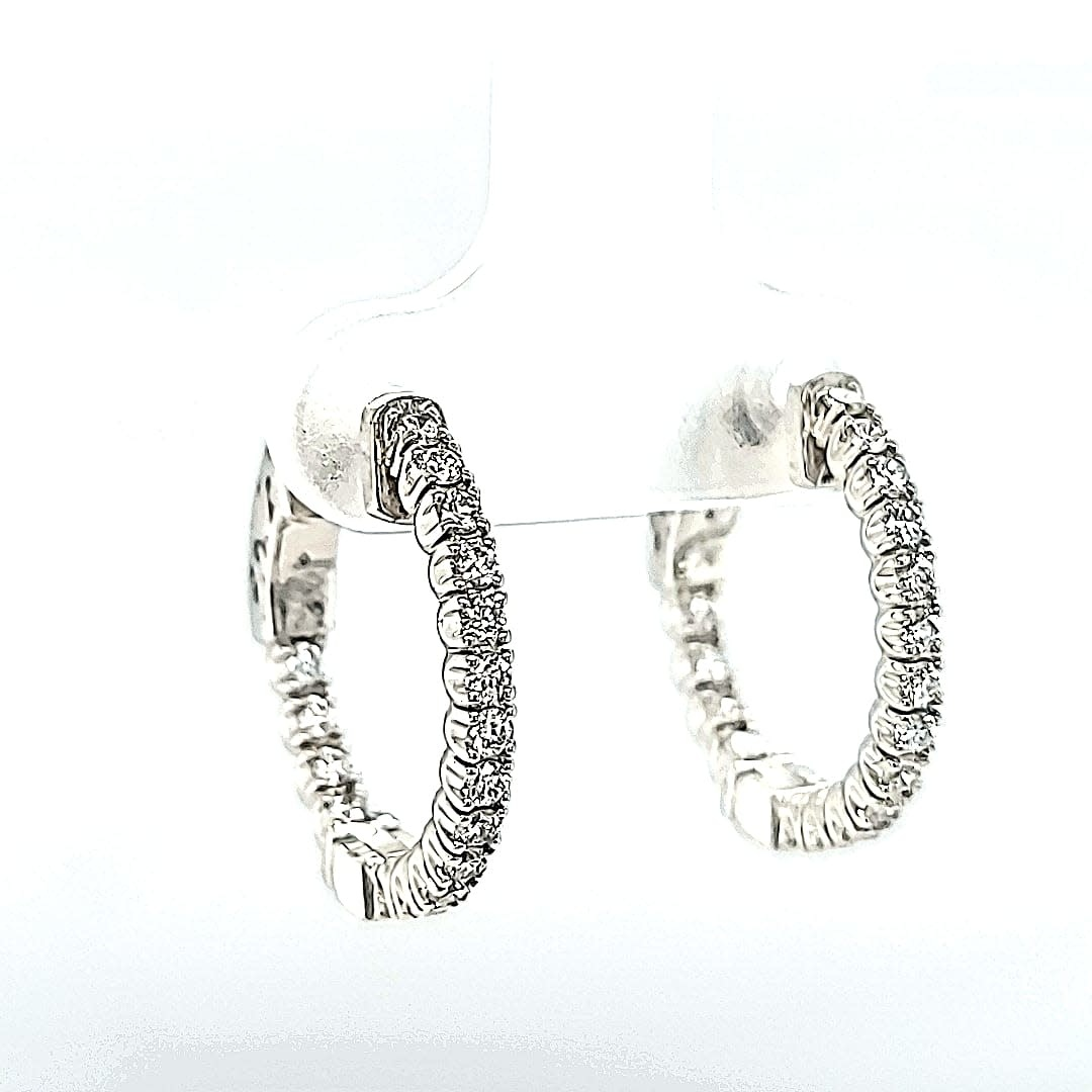 14KW 0.57TW Lab Grown Hoop Earrings