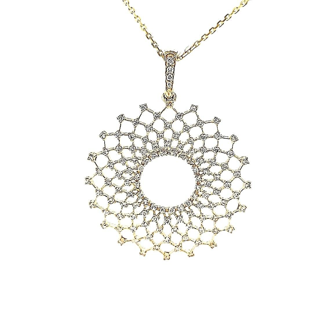 14KY Lab Grown Diamond Spirograph Pendant