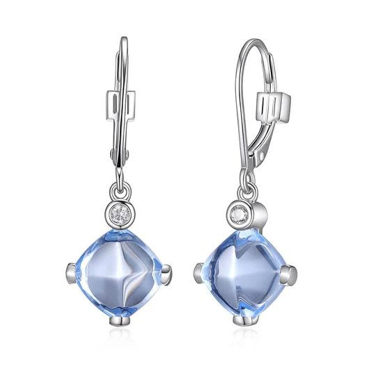 Elle .925 Syn. Blue Quartz Dangle Earrings