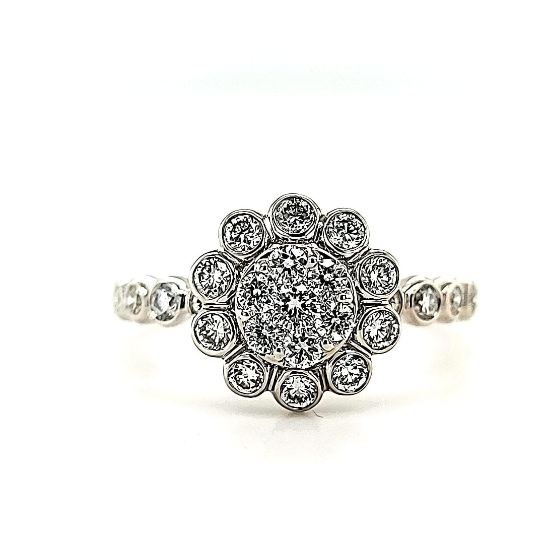 14KW LG Diamond Cluster Flower Engagement Ring (Lab Grown Diamonds)