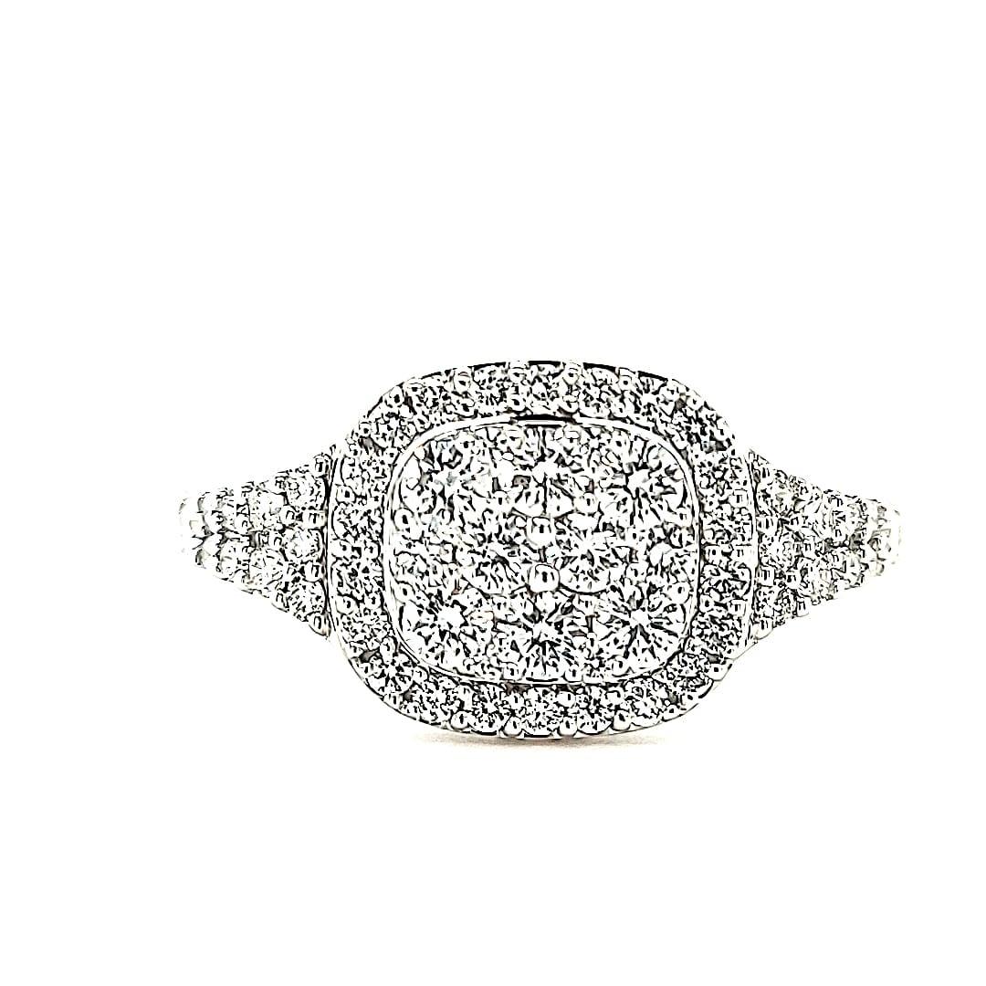 14KW LG Diamond Cluster Fashion Ring