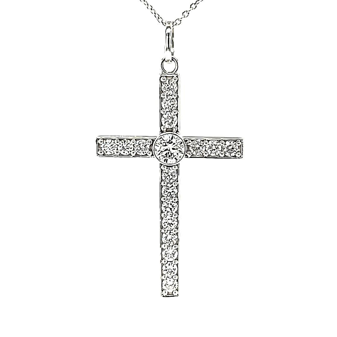 14KW LG Diamond Cross Pendant 7/8cttw (Lab Grown Diamonds)