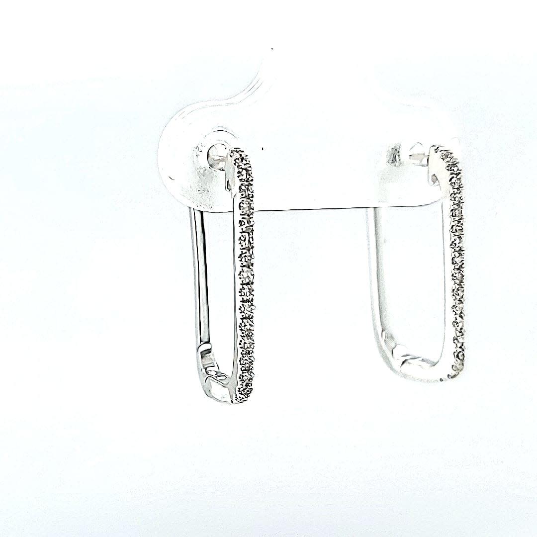 14K LG Diamond Paperclip Hoop Earrings