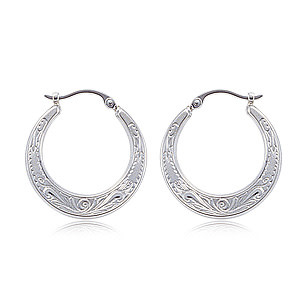 Carla .925 Flat Shell engraved Hoop Earrings