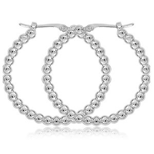 Carla .925 Beaded Hoop Earrings