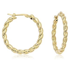 Carla 14KY Swirl Hoop Earrings