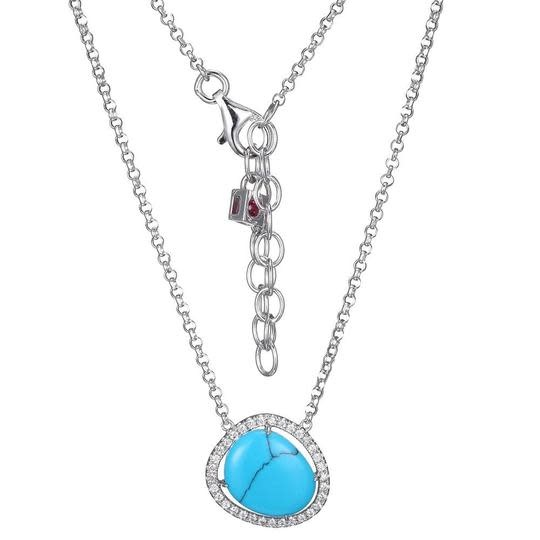 Elle .925 CZ and Turquoise Pendant