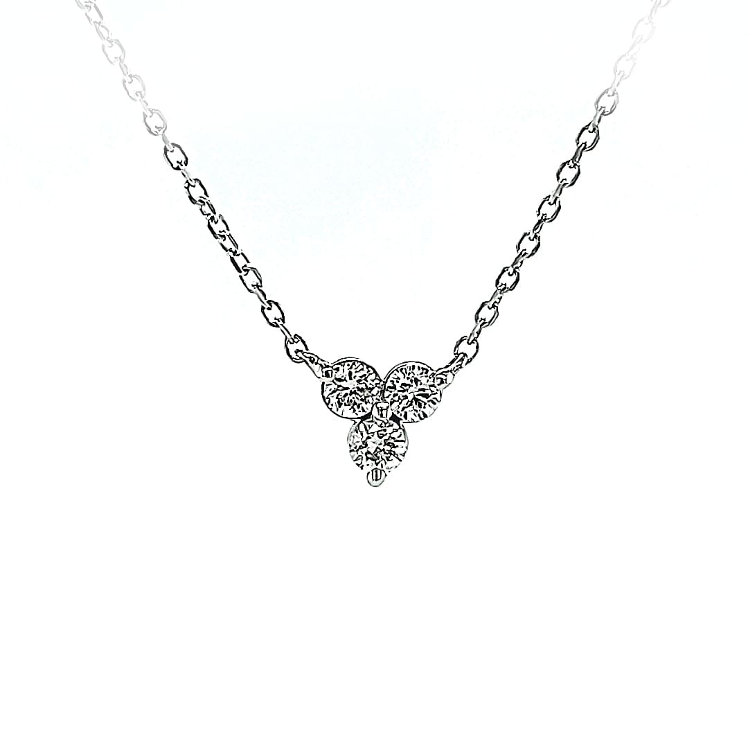14KW Three Stone Natural Diamond Pendant 0.15TW