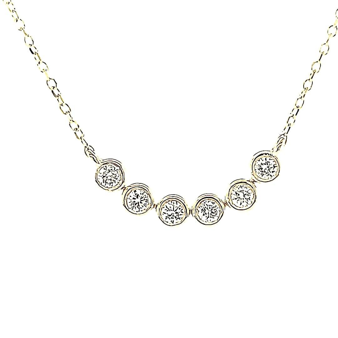 14KY Natural Diamond Bezel Necklace 0.22TW