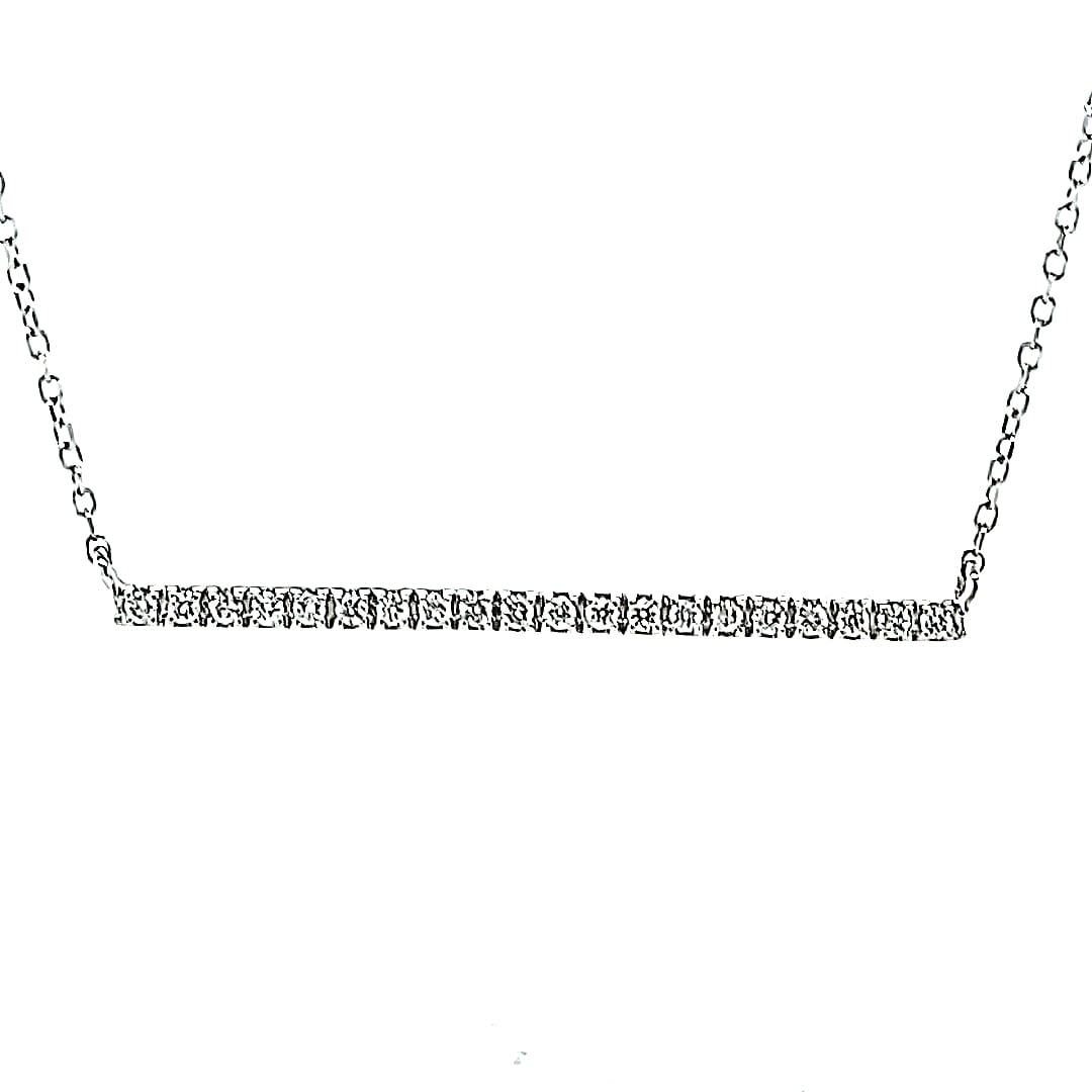 14KW Natural Diamond Bar Necklace 0.18TW