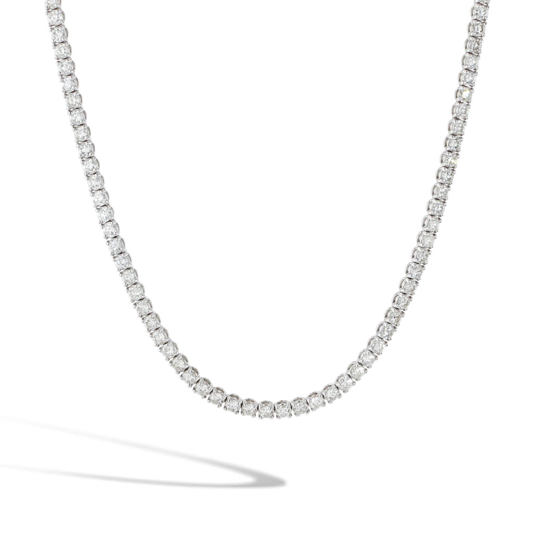 14KW 7CTTW LG Diamond Tennis Necklace