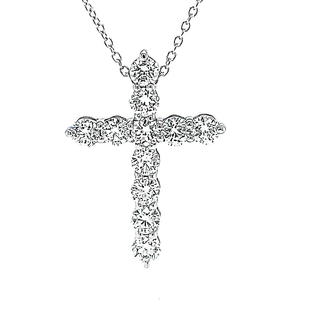 14KW LG Diamond Cross Pendant .97CTTW
