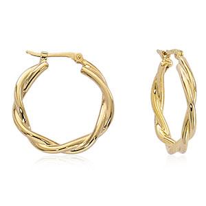 Carla 14KY Twisted Hoop Earrings