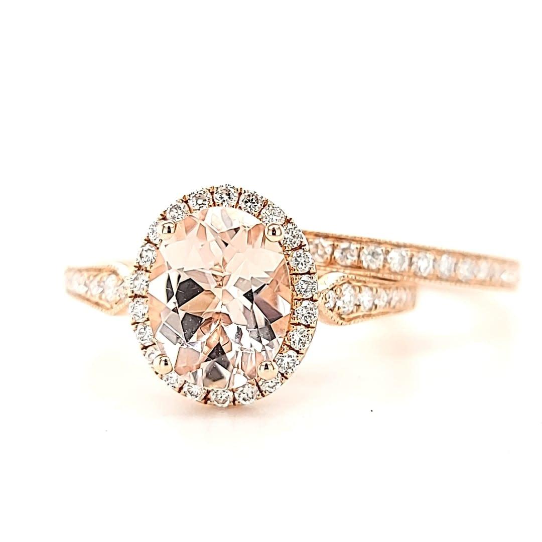 14KR Oval  Halo Morganite Ring Set