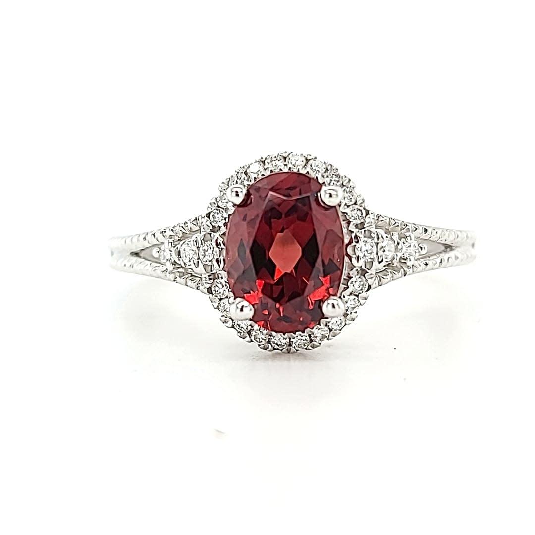 14KW Garnet Halo Fashion Ring 1.52CT