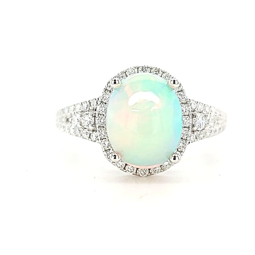 14KW 1.82CT Ethiopian Opal Halo Ring