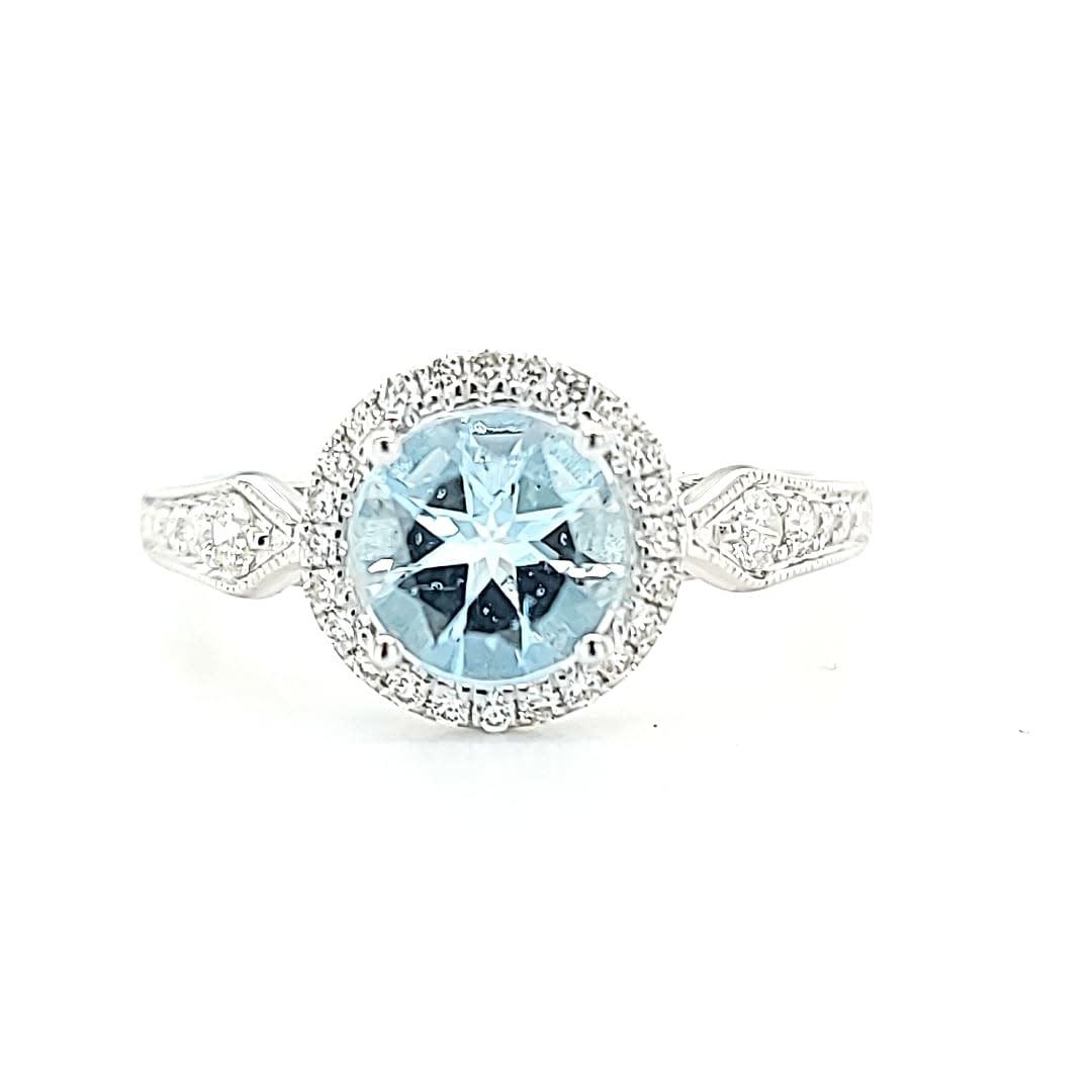 14KW 1.01 Aquamarine Halo Fashion Ring