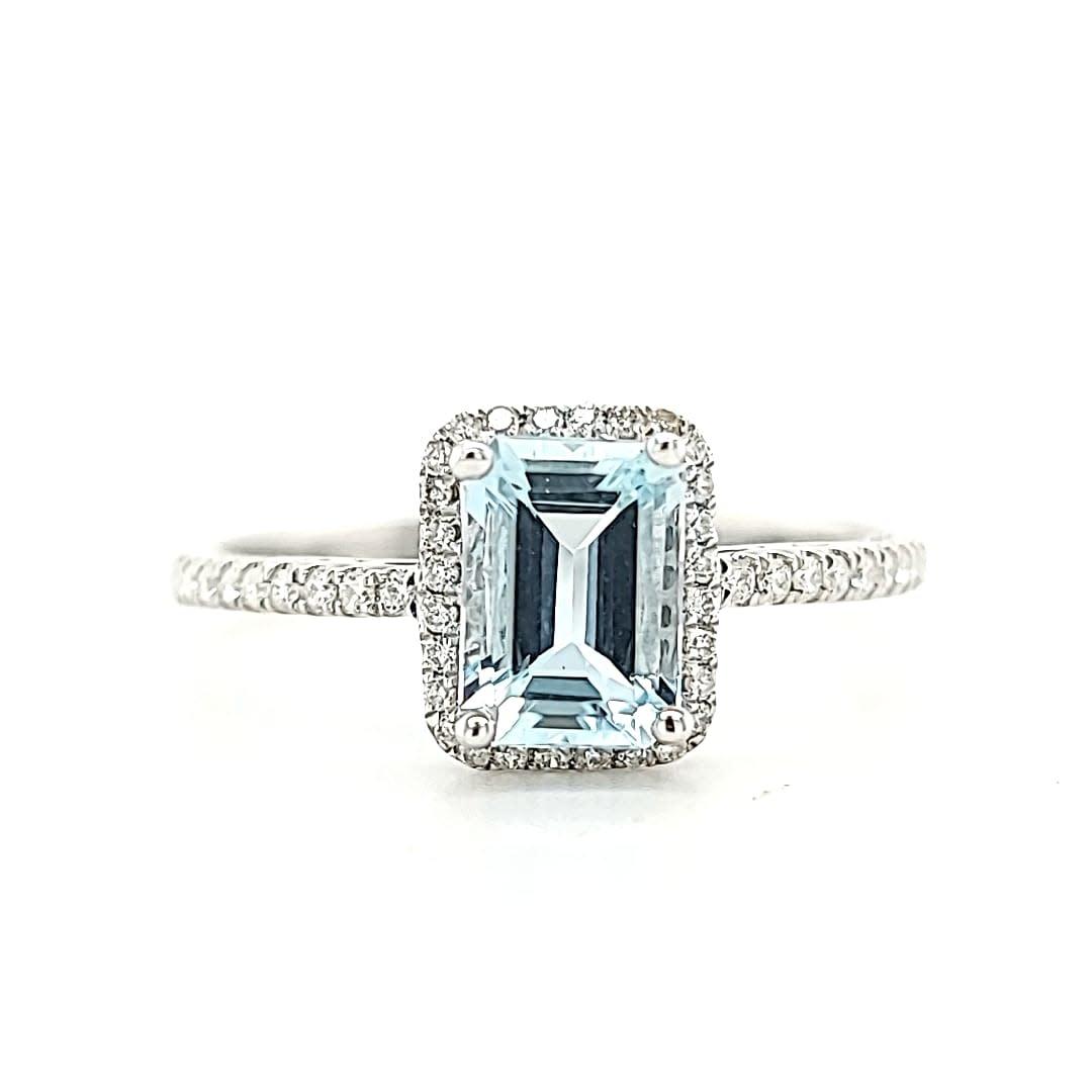 14KW .93CT Aquamarine Halo Fashion Ring
