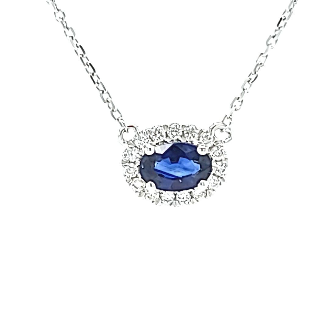 14KW Halo Blue Sapphire Pendant 0.60CT