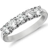 USNY 14KW 5 Stone LG Diamond Band 1.25CTTW