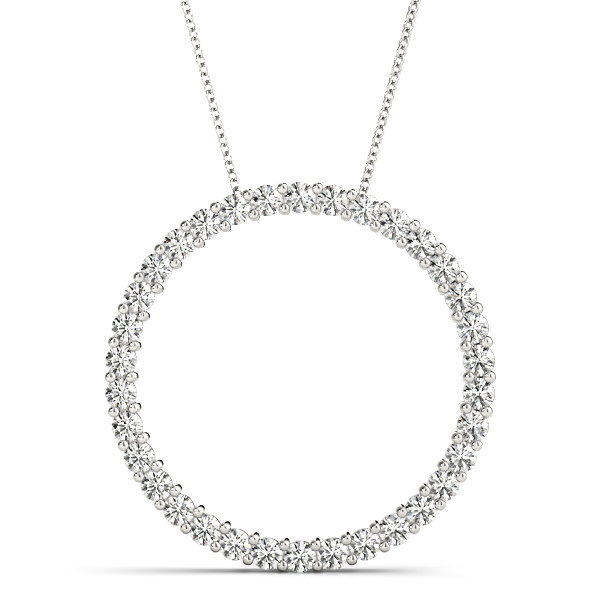 14KW 1/4CT Circle LG Diamond Slide Pendant