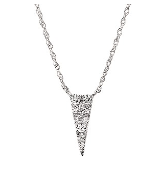 14KW Pave Diamond Triangle Necklace .10CTTW
