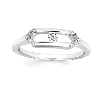 .925 Sliding Diamond Ring 0.14CT