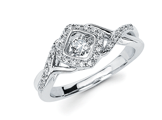.925 Shimmering Diamond Halo Ring