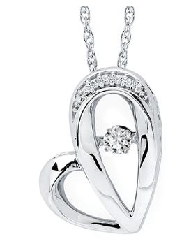 .925 Shimmering Diamond Heart Pendant .10TW