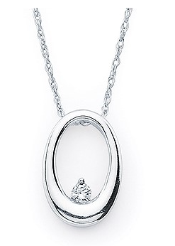 14KW Open Oval Pendant with a Diamond .03