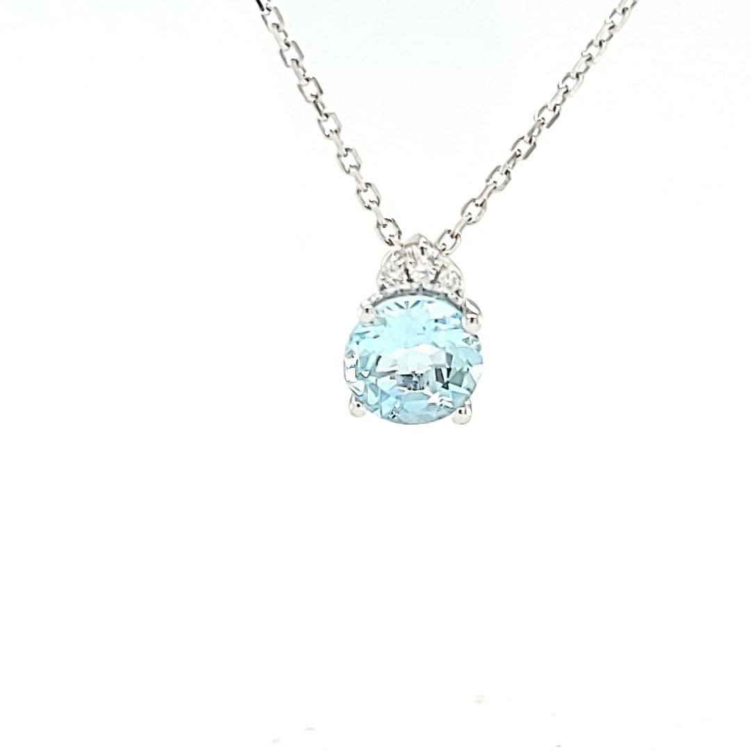 14KW Aquamarine Pendant with Diamond Accents