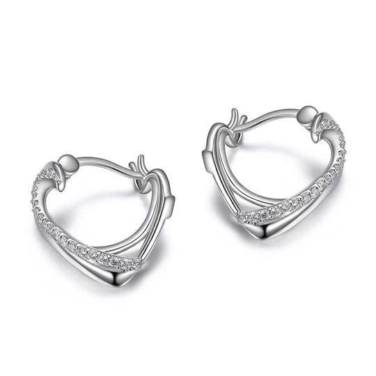 .925 Heart CZ Hoop Earrings