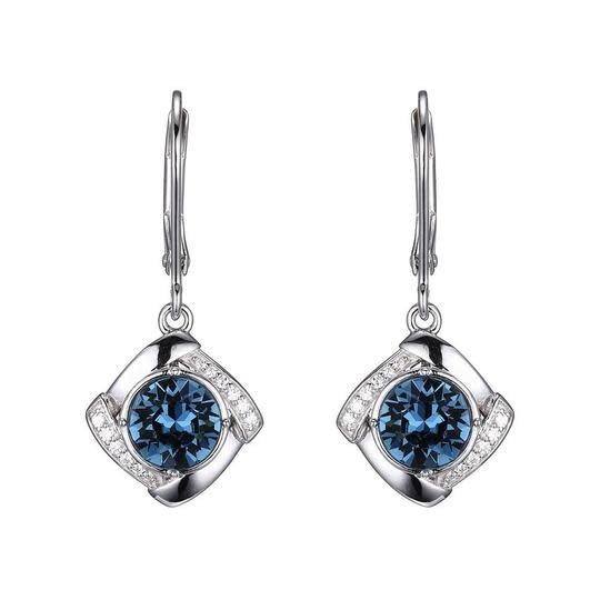 .925 Blue Topaz Color Swarovski Crystal Earrings