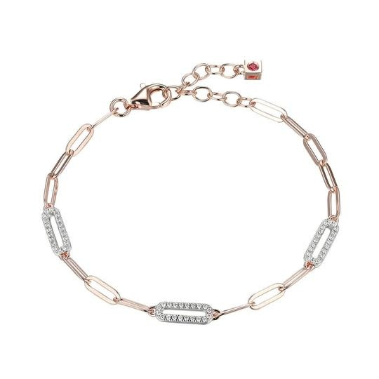 Elle .925 and Rose Plated CZ Paperclip Bracelet
