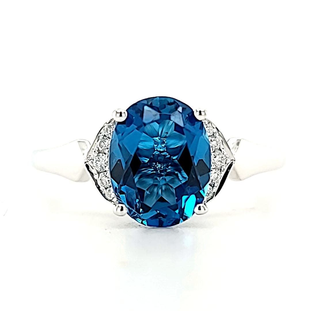 Cirari 14KW 2.26CT London Blue Topaz and Diamond Ring .05tw