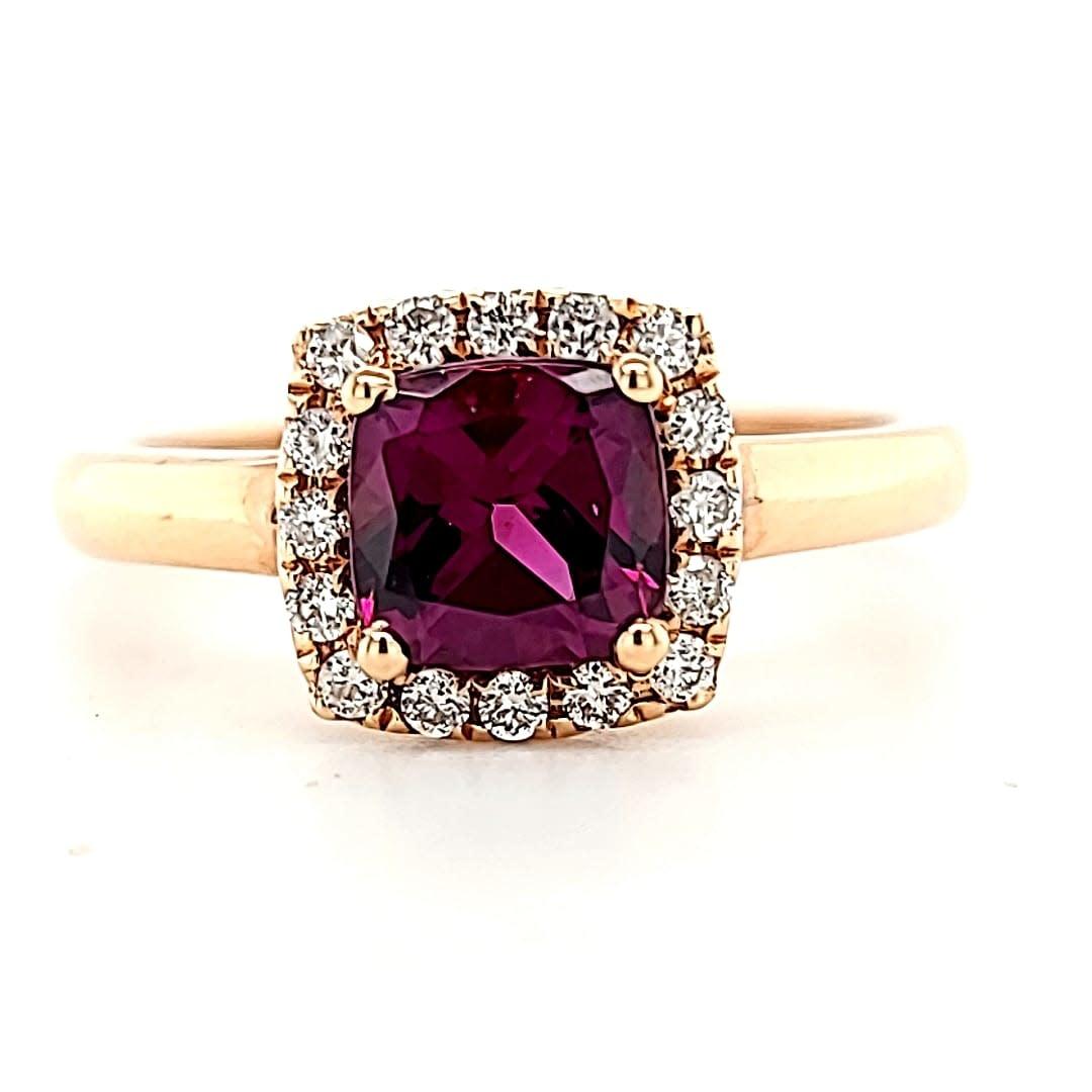 Cirari 14KR 1.22CT Rhodolite and Diamond Halo Ring  .16tw