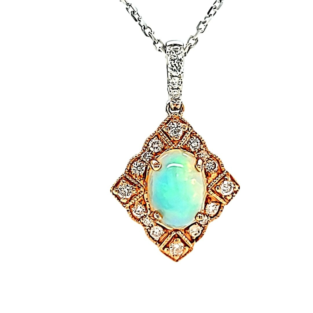 Cirari 14KTT  Opal and Diamond Art Deco Pendant