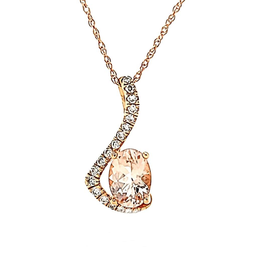 Cirari 14KR .68CT Morganite and Diamond Pendant .11TW
