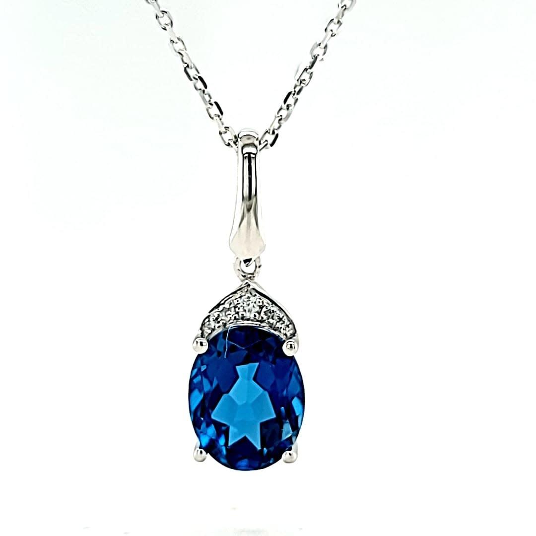 Cirari 14KW 2.38CT London Blue Topaz and Diamond Pendant