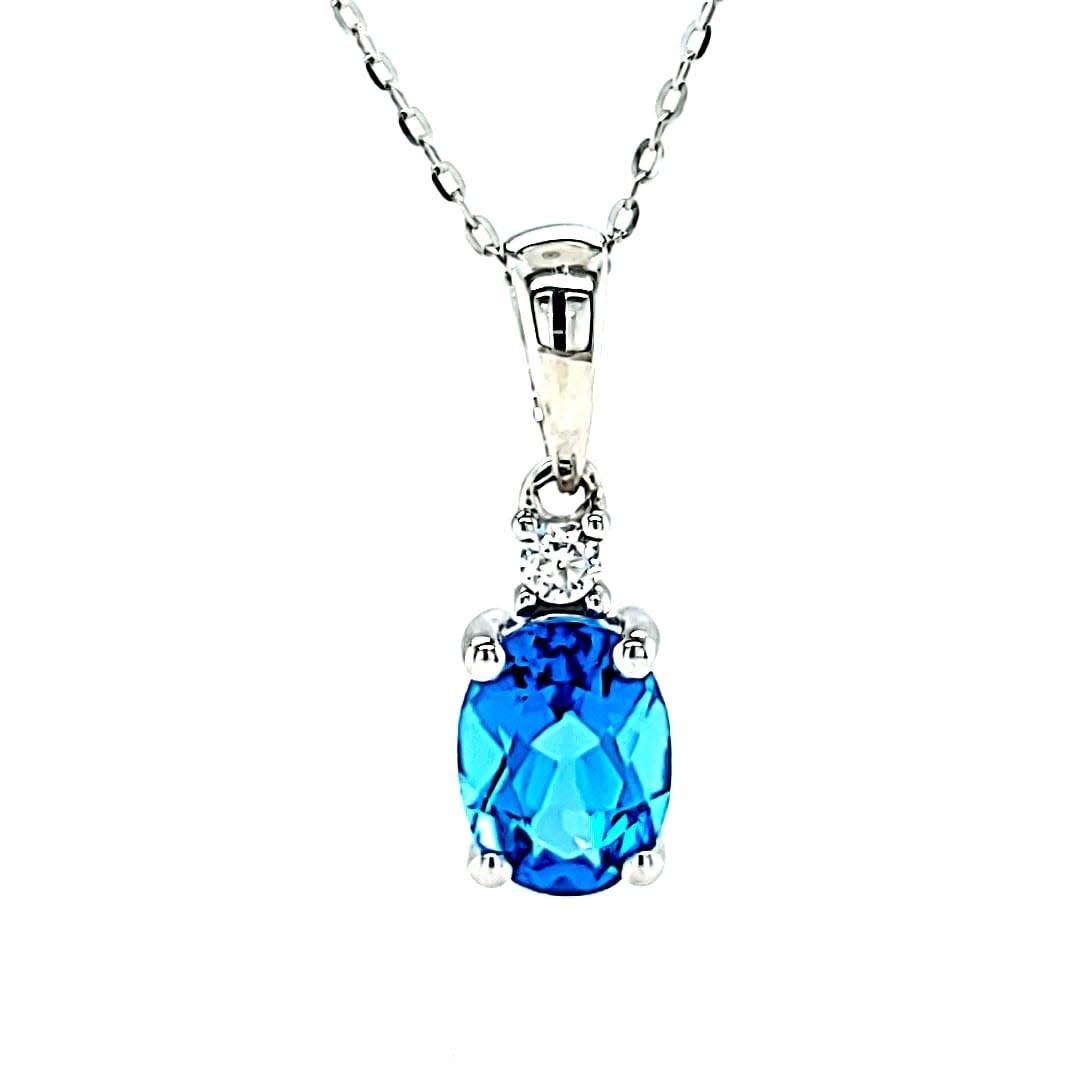 Cirari 14KW 1.41 Swiss Blue Topaz and Diamond Pendant .04TW